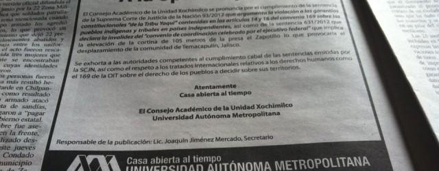 A la opinión pública: El Consejo Académico de la Unidad Xochimilco se pronuncia por el cumplimiento de la sentencia de la Suprema Corte de Justicia de la Nación 93/2012 que […]
